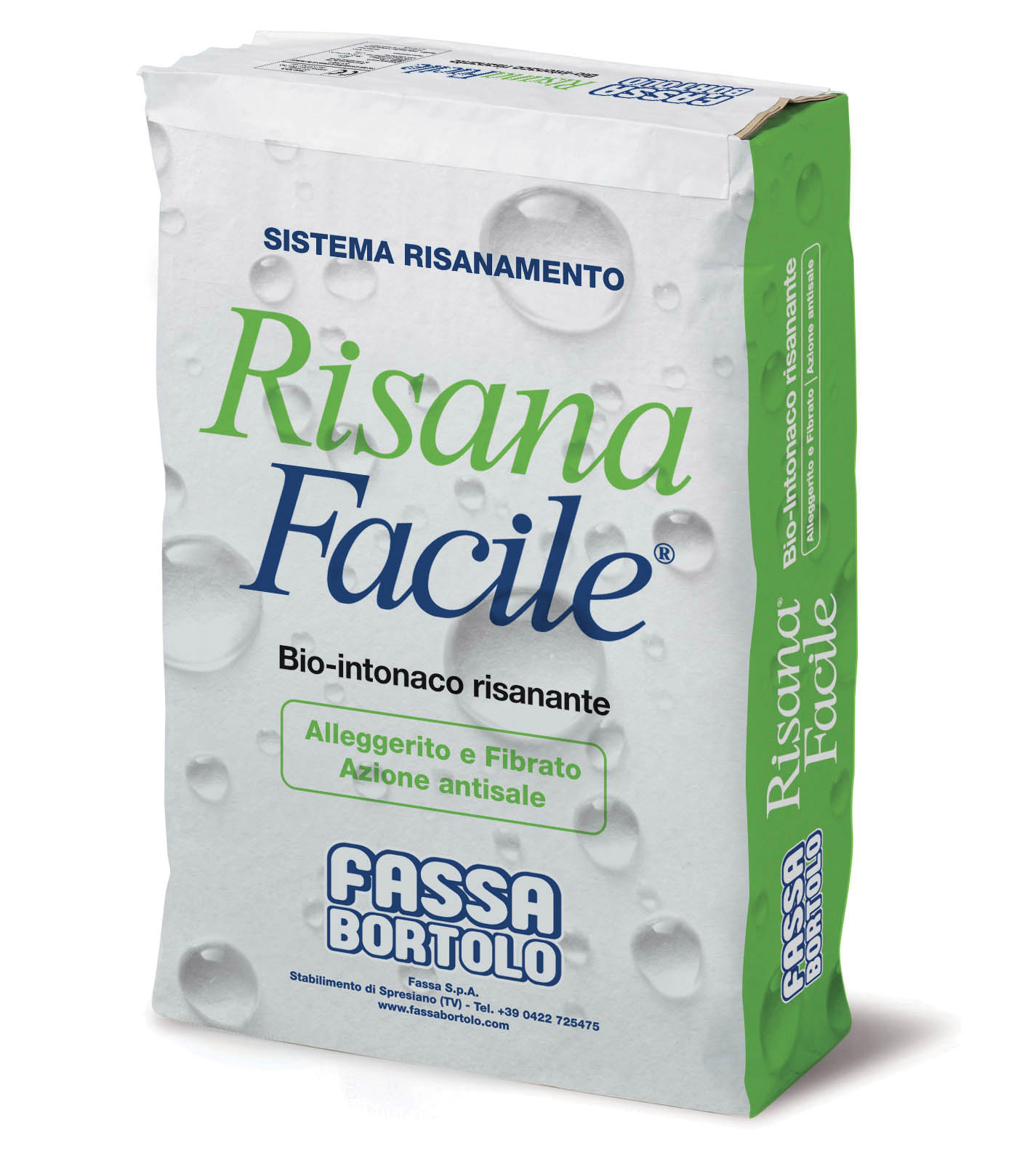 RISANAFACILE: Lightweight fibre-reinforced white bio-plaster for the renovation of damp masonry, also containing salt damp, for interiors and exteriors